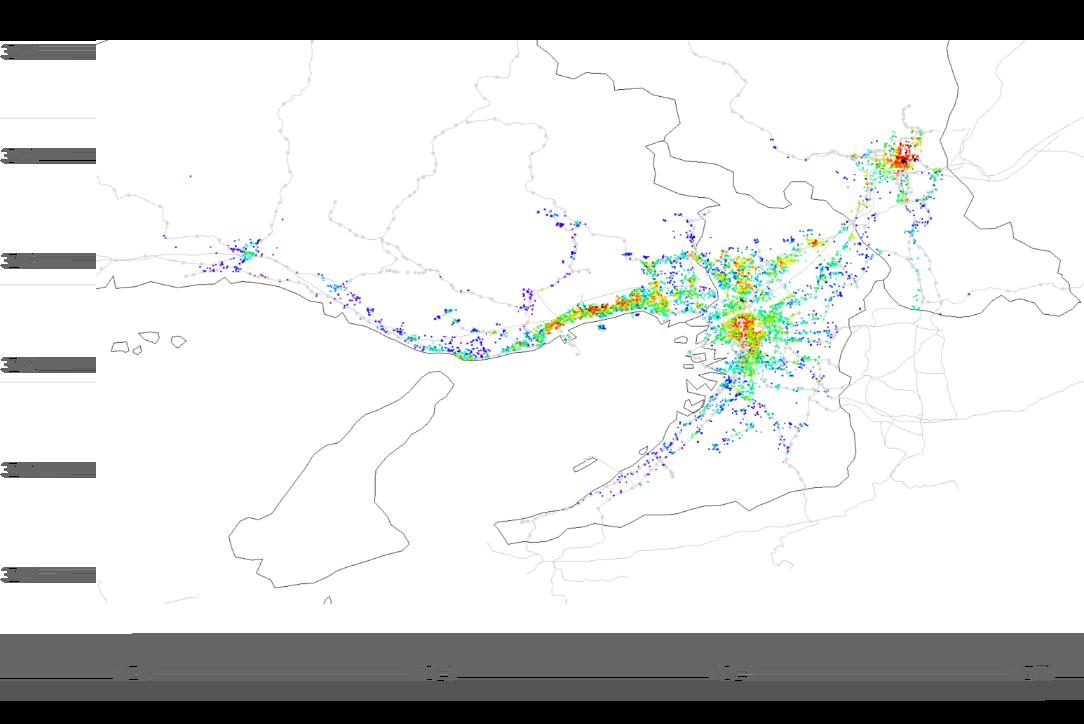 図:関西推定平米単価ヒートマップ