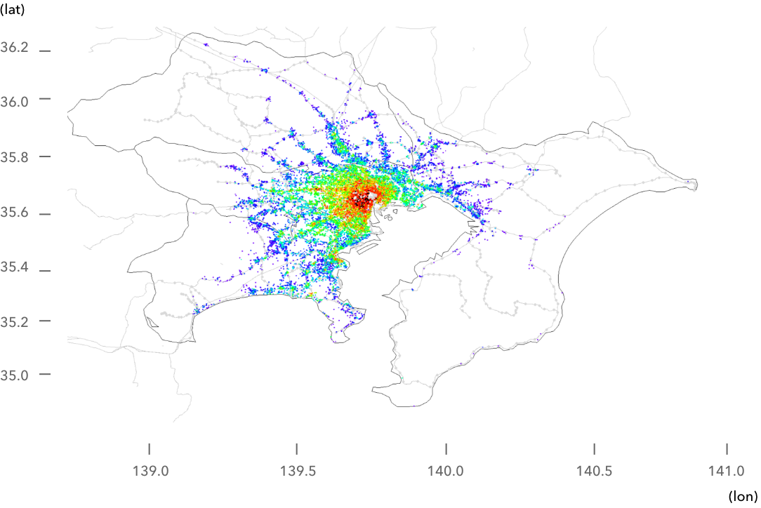 図:一都三県推定平米単価ヒートマップ